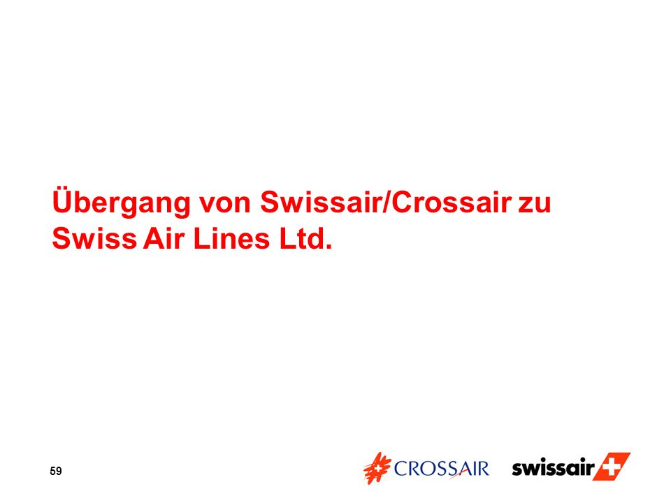 Übergang von Swissair/Crossair zu Swiss Air Lines Ltd.