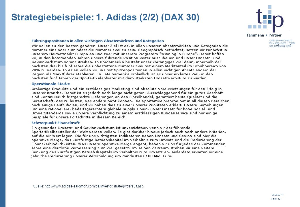 Strategiebeispiele: 1. Adidas (2/2) (DAX 30)