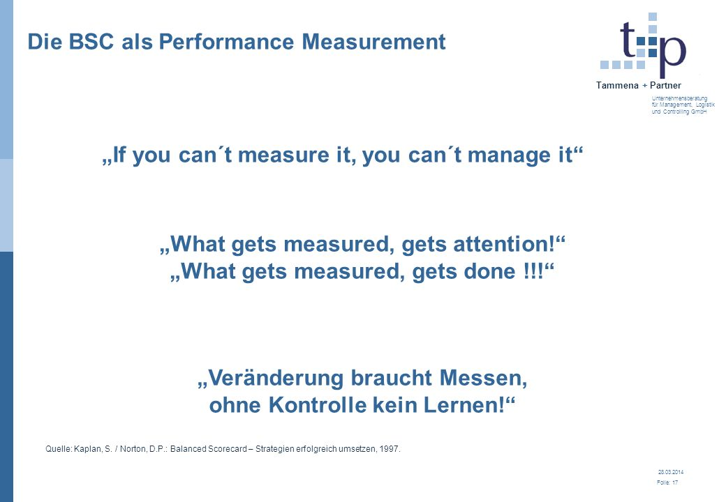 Die BSC als Performance Measurement
