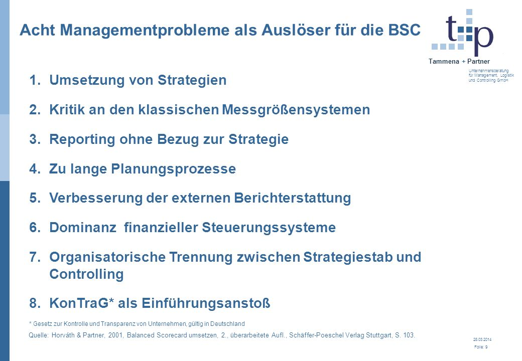 Acht Managementprobleme als Auslöser für die BSC