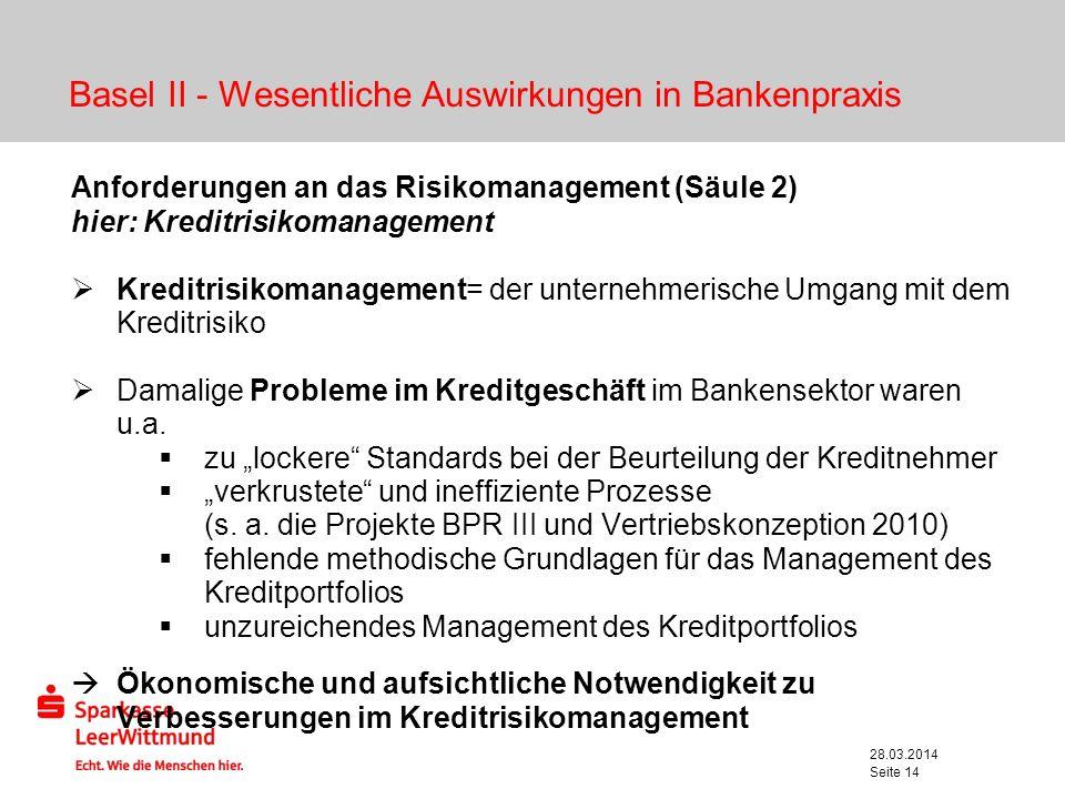 Basel II - Wesentliche Auswirkungen in Bankenpraxis