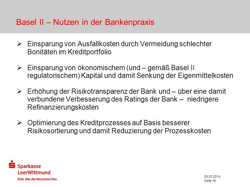 Basel II – Nutzen in der Bankenpraxis