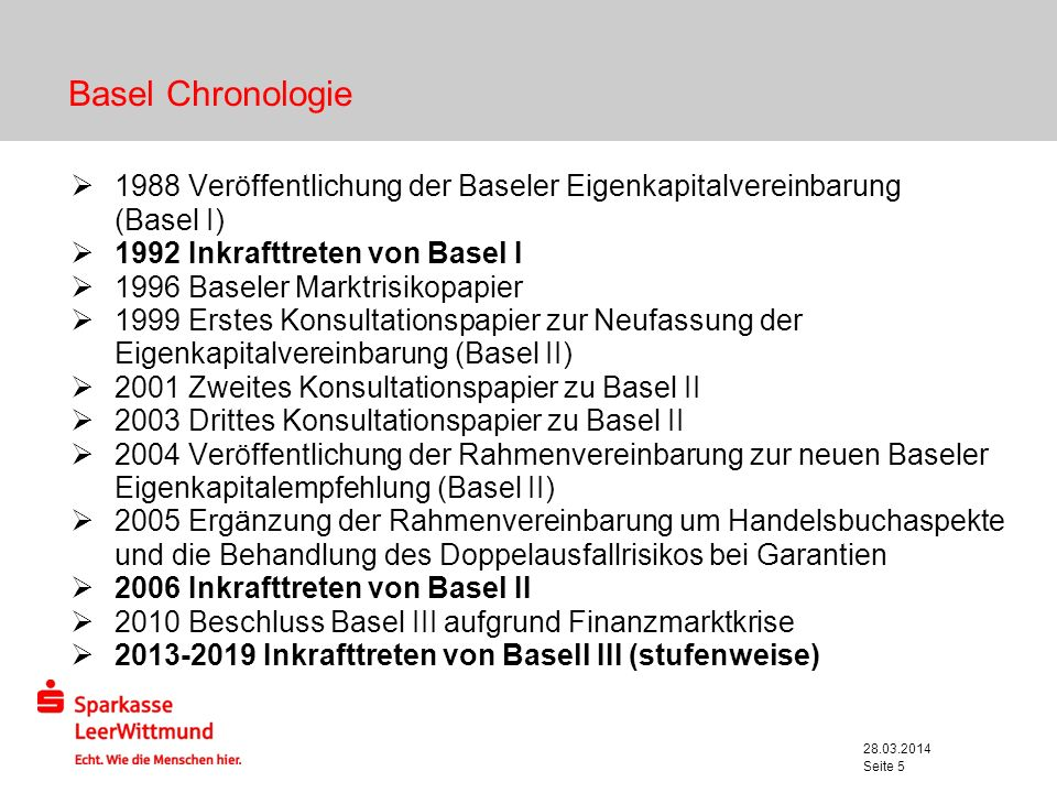 Basel Chronologie 1988 Veröffentlichung der Baseler Eigenkapitalvereinbarung. (Basel I) 1992 Inkrafttreten von Basel I.