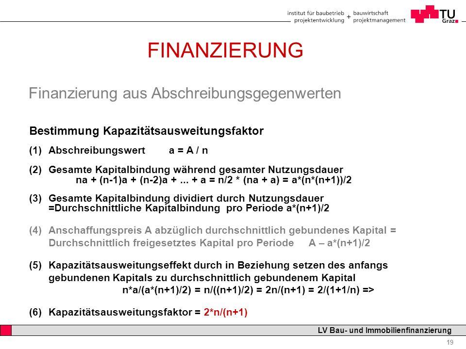 FINANZIERUNG Finanzierung aus Abschreibungsgegenwerten