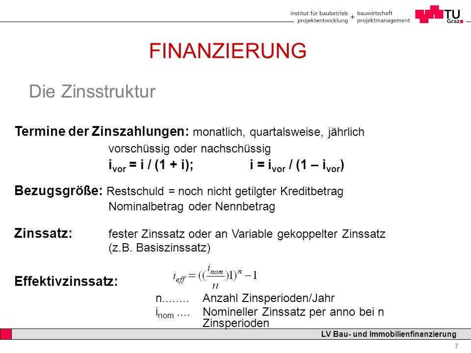 FINANZIERUNG Die Zinsstruktur
