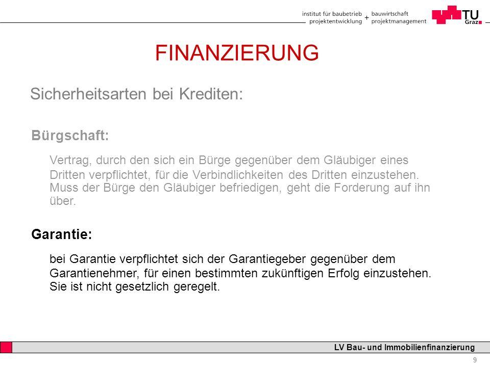 08.11.2007 FINANZIERUNG. Sicherheitsarten bei Krediten: Bürgschaft: