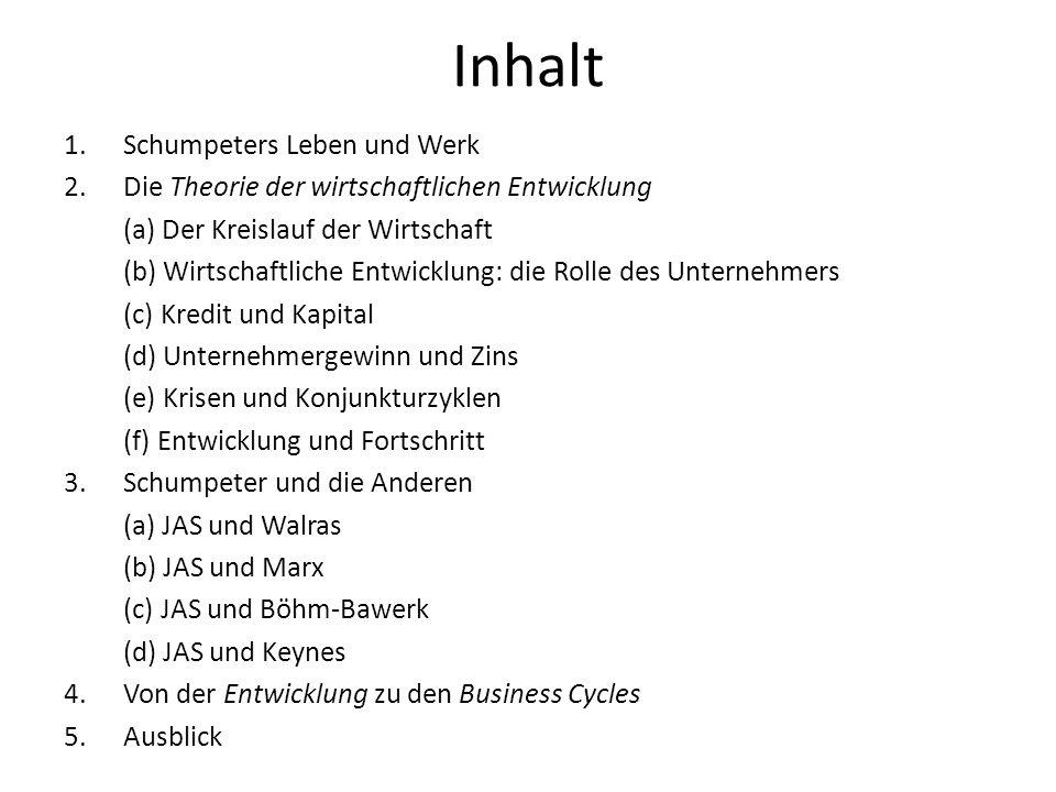 Inhalt Schumpeters Leben und Werk