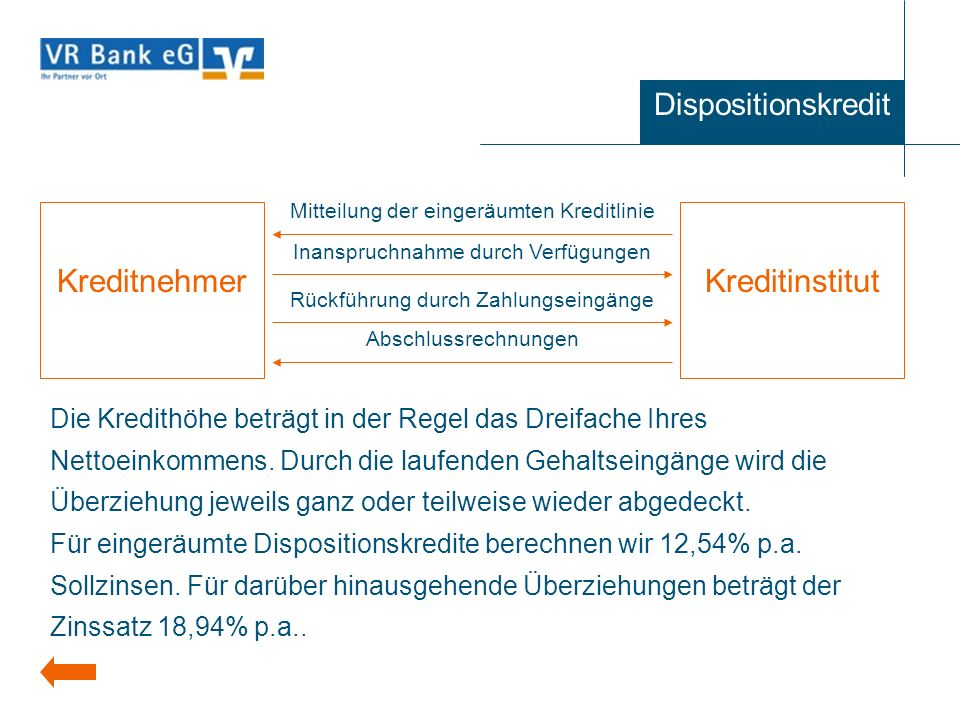 Kreditnehmer Kreditinstitut Dispositionskredit