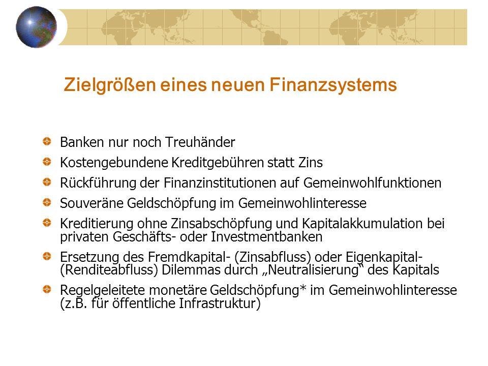 Zielgrößen eines neuen Finanzsystems