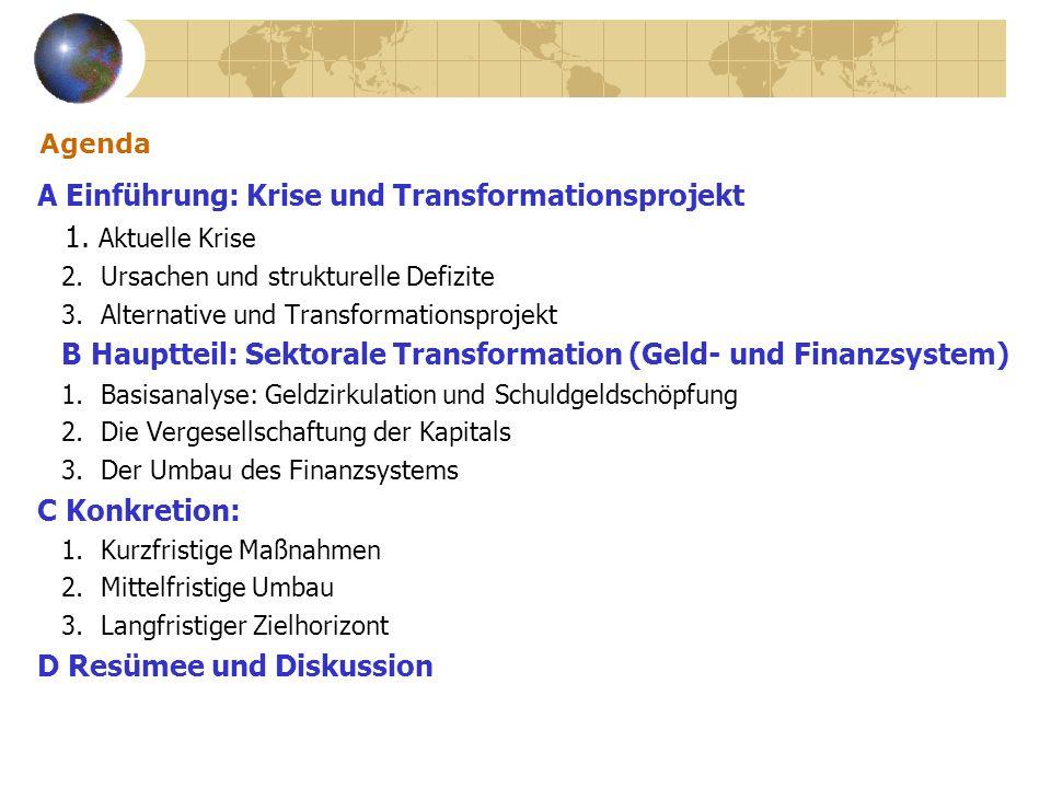 A Einführung: Krise und Transformationsprojekt 1. Aktuelle Krise
