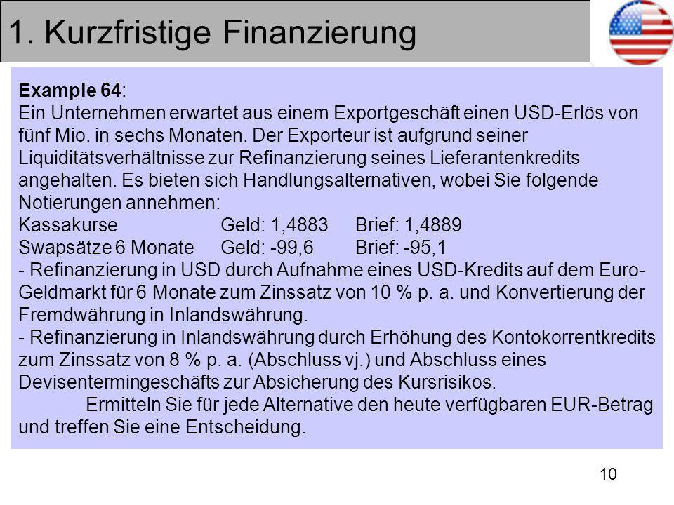 1. Kurzfristige Finanzierung