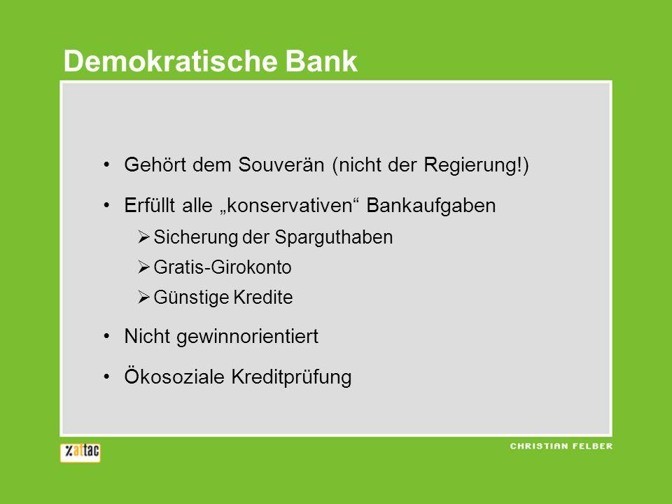 Demokratische Bank Gehört dem Souverän (nicht der Regierung!)