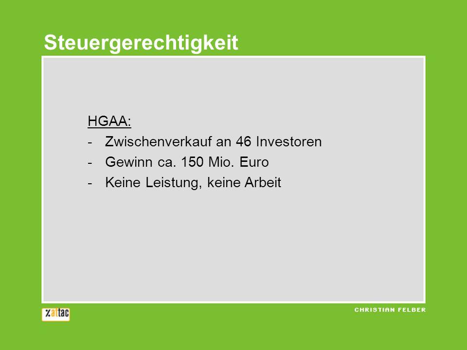 Steuergerechtigkeit HGAA: Zwischenverkauf an 46 Investoren
