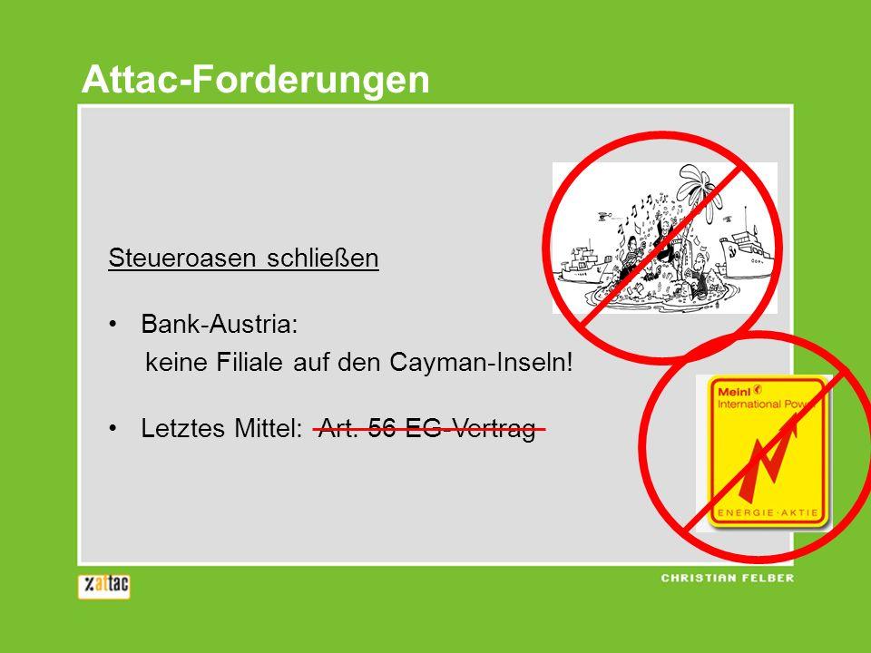 Attac-Forderungen Steueroasen schließen Bank-Austria: