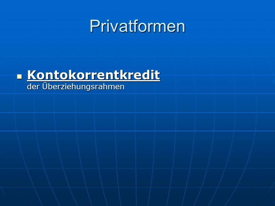 Privatformen Kontokorrentkredit der Überziehungsrahmen