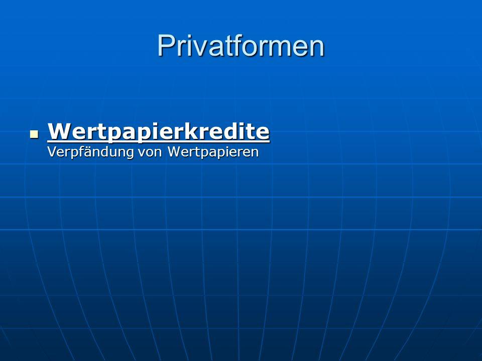 Privatformen Wertpapierkredite Verpfändung von Wertpapieren