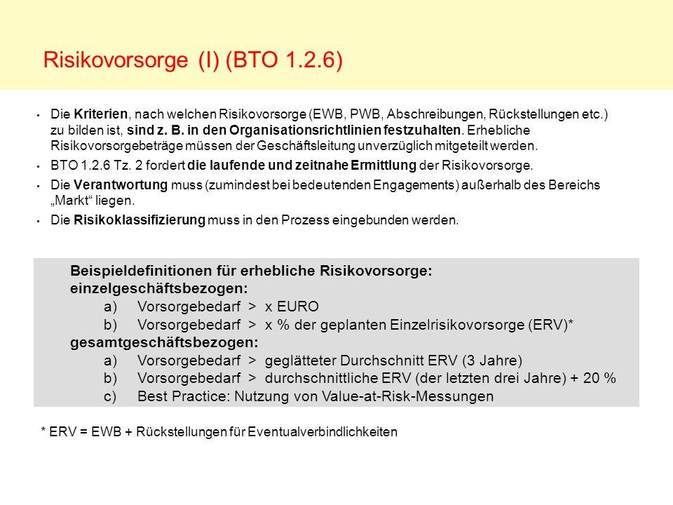 Risikovorsorge (I) (BTO 1.2.6)