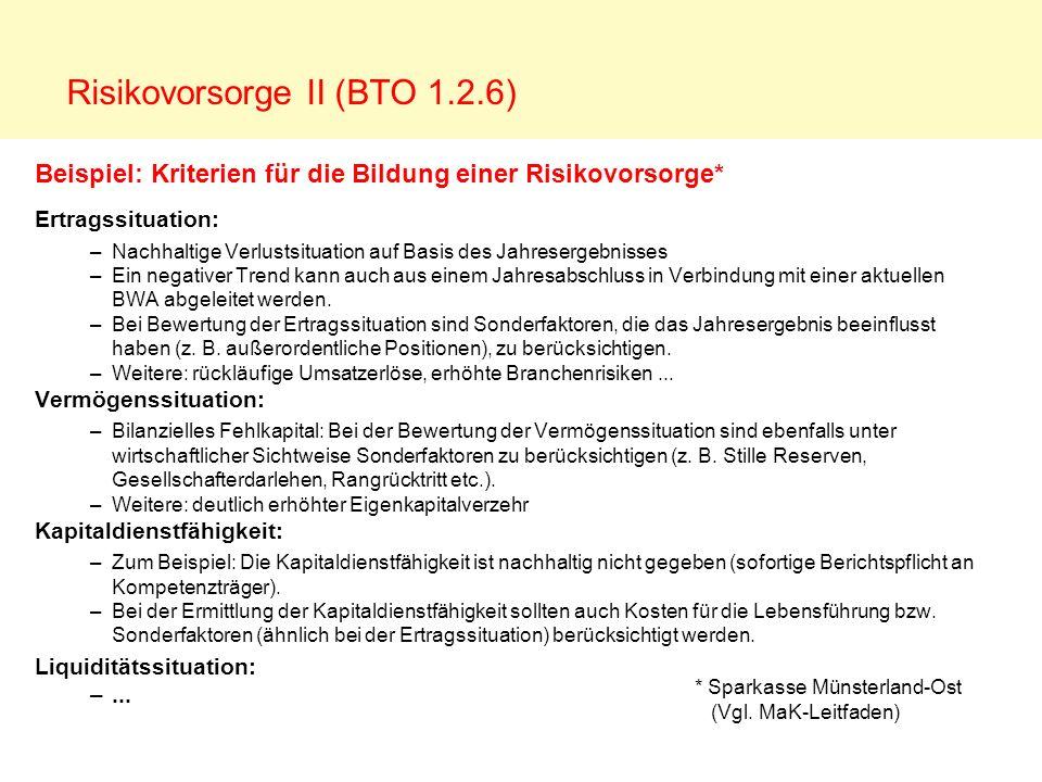 Risikovorsorge II (BTO 1.2.6)