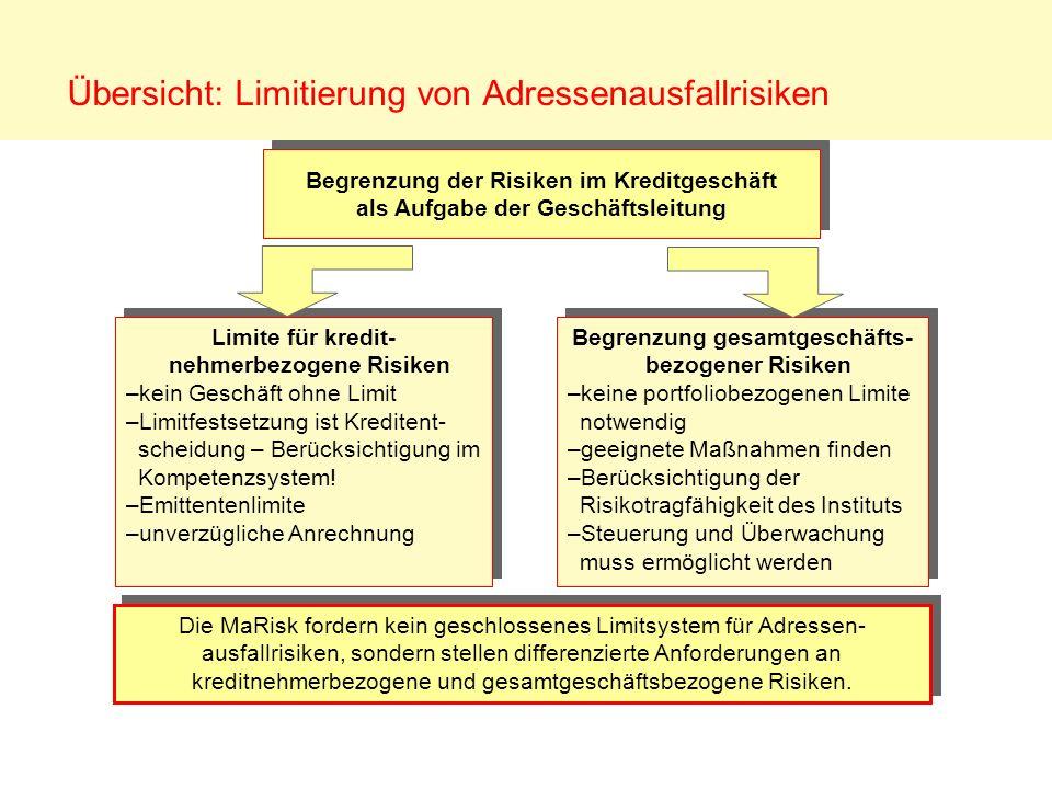 Übersicht: Limitierung von Adressenausfallrisiken