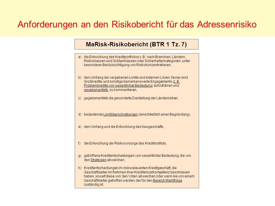 Anforderungen an den Risikobericht für das Adressenrisiko