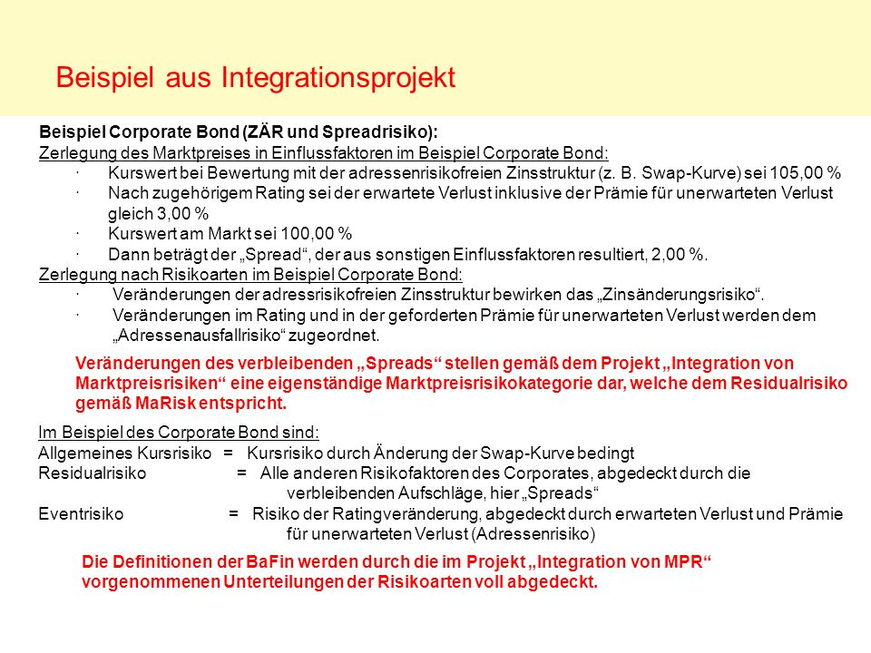 Beispiel aus Integrationsprojekt