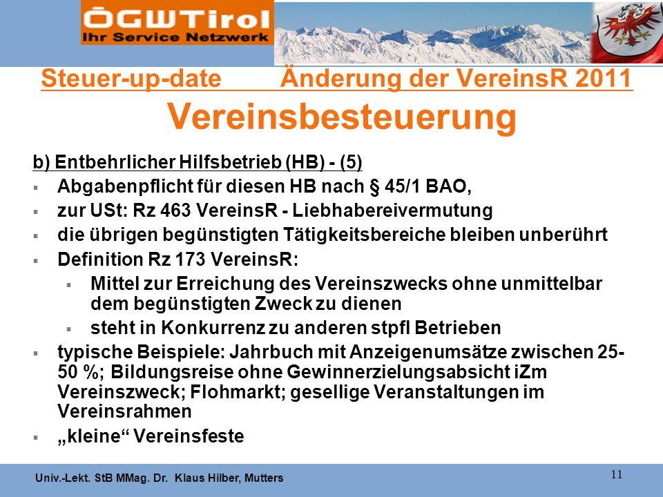 Steuer-up-date Änderung der VereinsR 2011 Vereinsbesteuerung