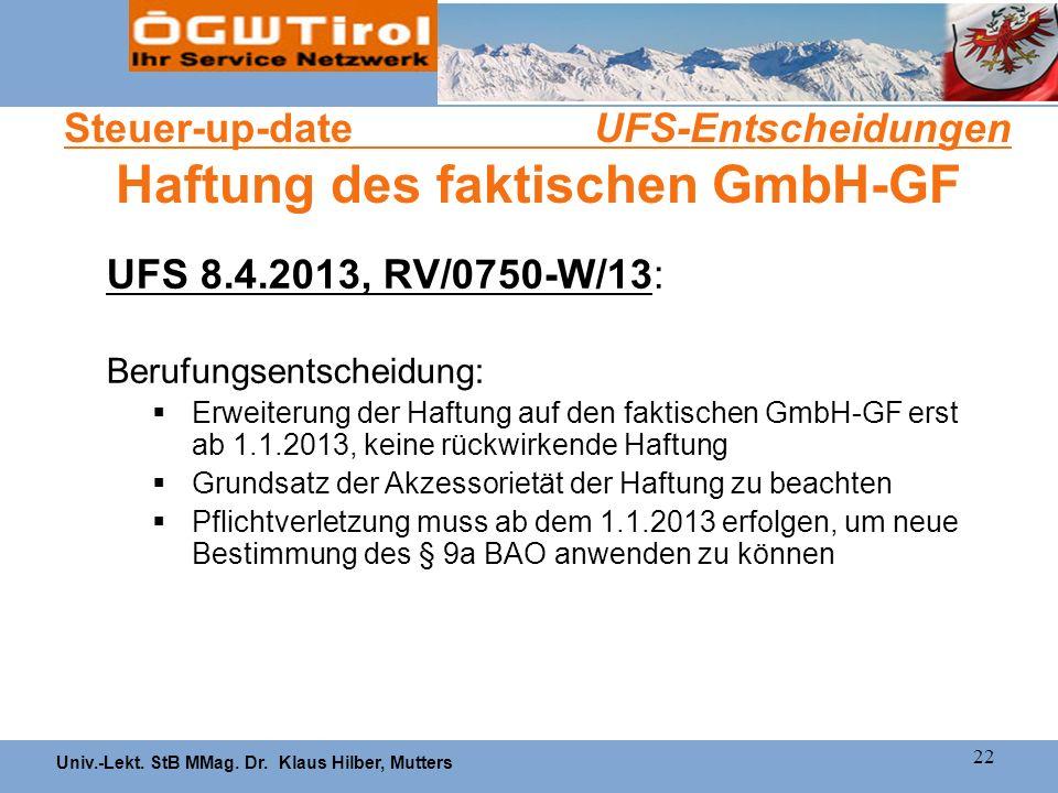 Steuer-up-date UFS-Entscheidungen Haftung des faktischen GmbH-GF