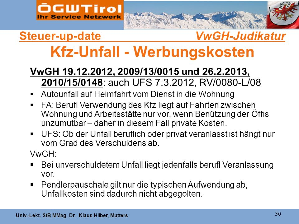 Steuer-up-date VwGH-Judikatur Kfz-Unfall - Werbungskosten