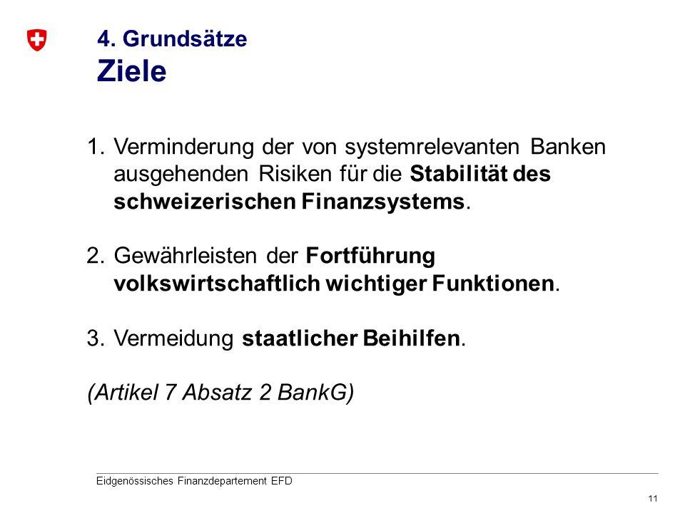 4. Grundsätze Ziele Verminderung der von systemrelevanten Banken ausgehenden Risiken für die Stabilität des schweizerischen Finanzsystems.