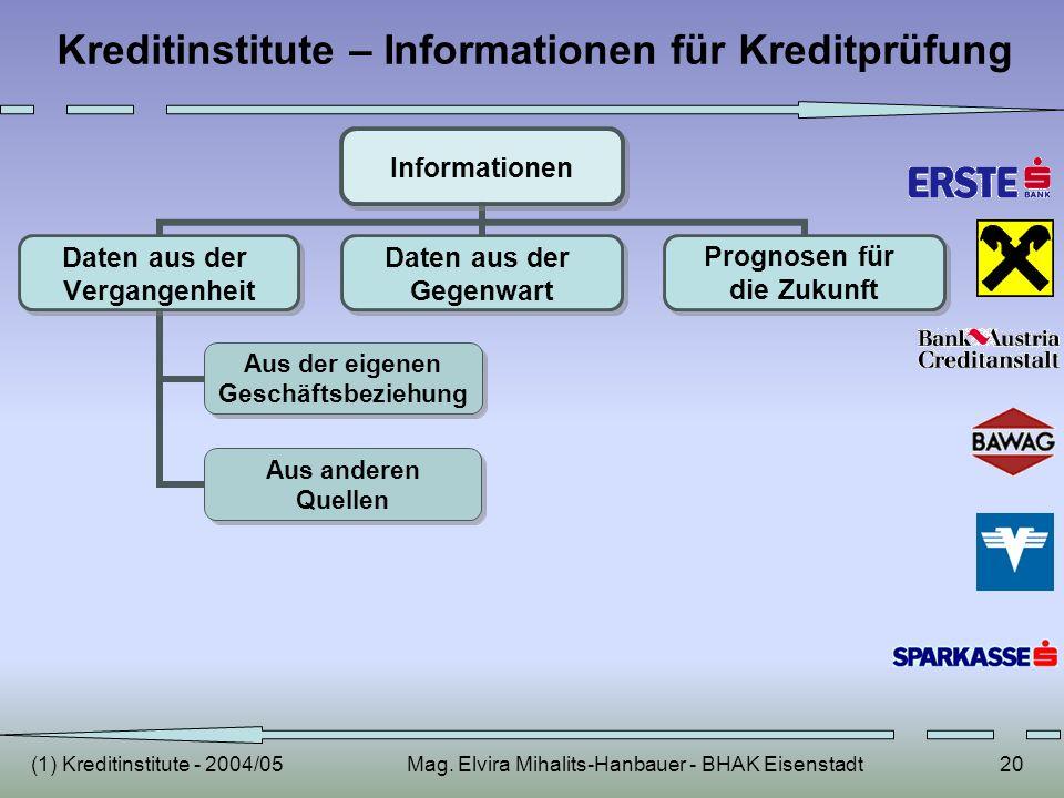 Kreditinstitute – Informationen für Kreditprüfung