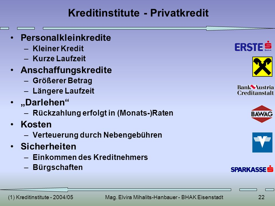 Kreditinstitute - Privatkredit