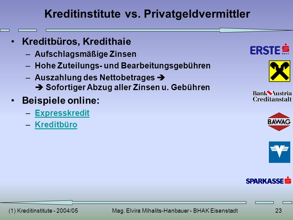 Kreditinstitute vs. Privatgeldvermittler