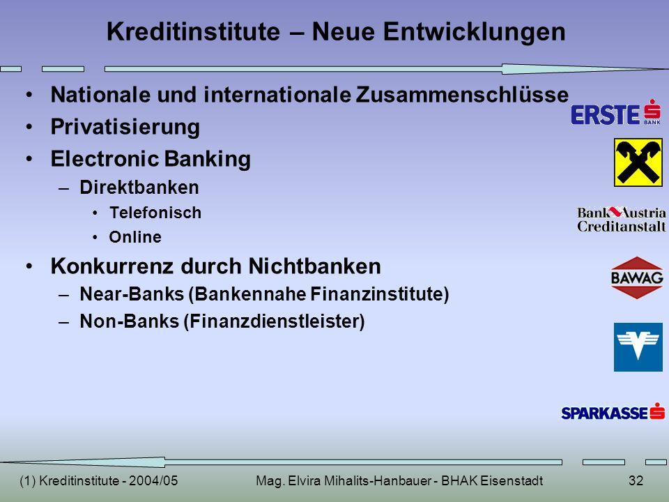 Kreditinstitute – Neue Entwicklungen