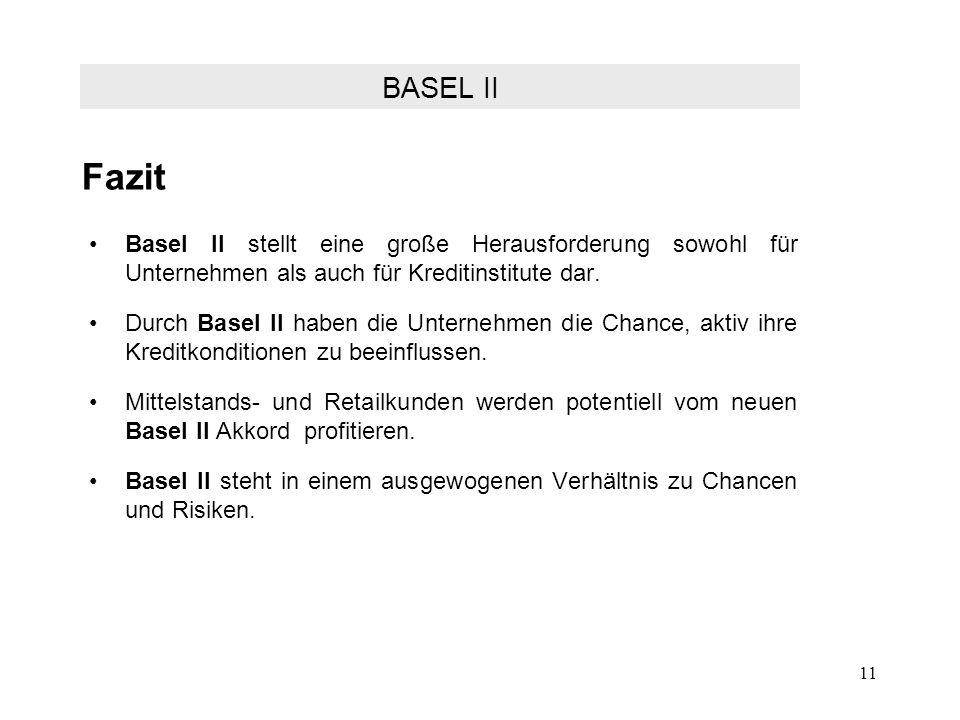 FazitBASEL II. Basel II stellt eine große Herausforderung sowohl für Unternehmen als auch für Kreditinstitute dar.