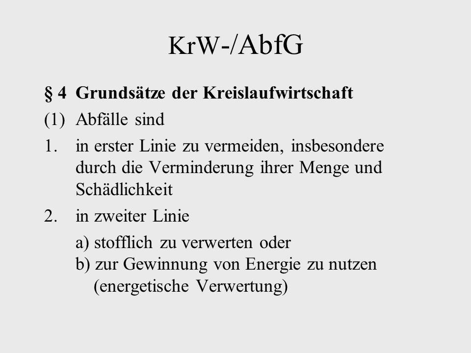 KrW-/AbfG § 4 Grundsätze der Kreislaufwirtschaft (1) Abfälle sind