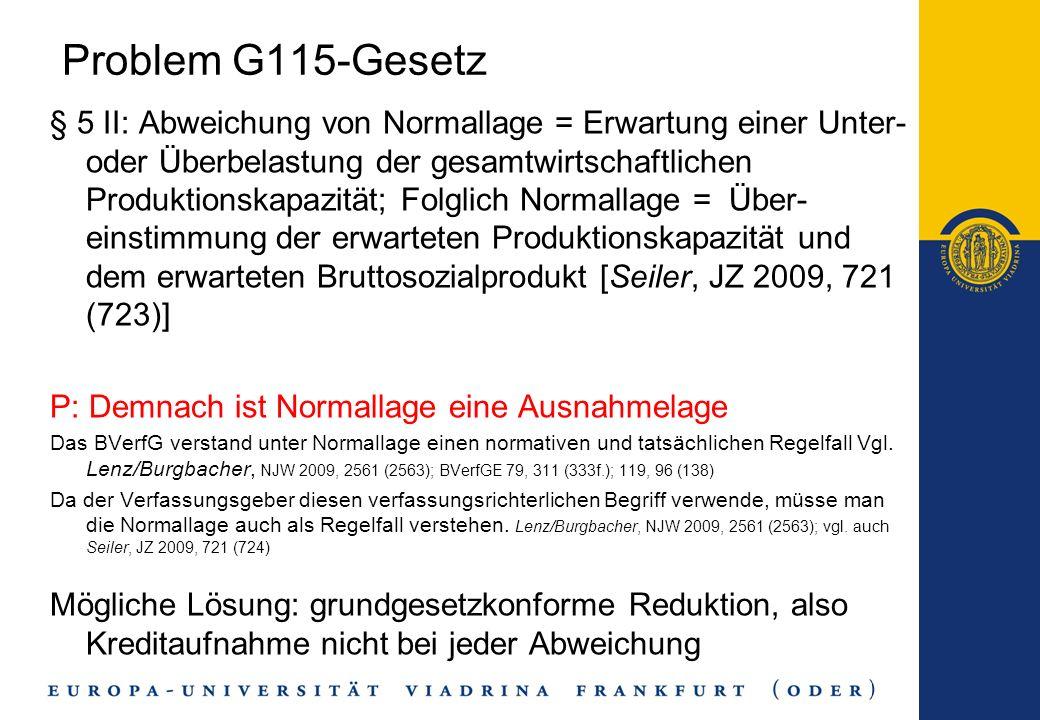 Problem G115-Gesetz