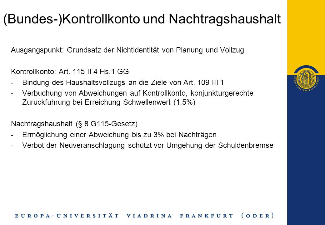 (Bundes-)Kontrollkonto und Nachtragshaushalt