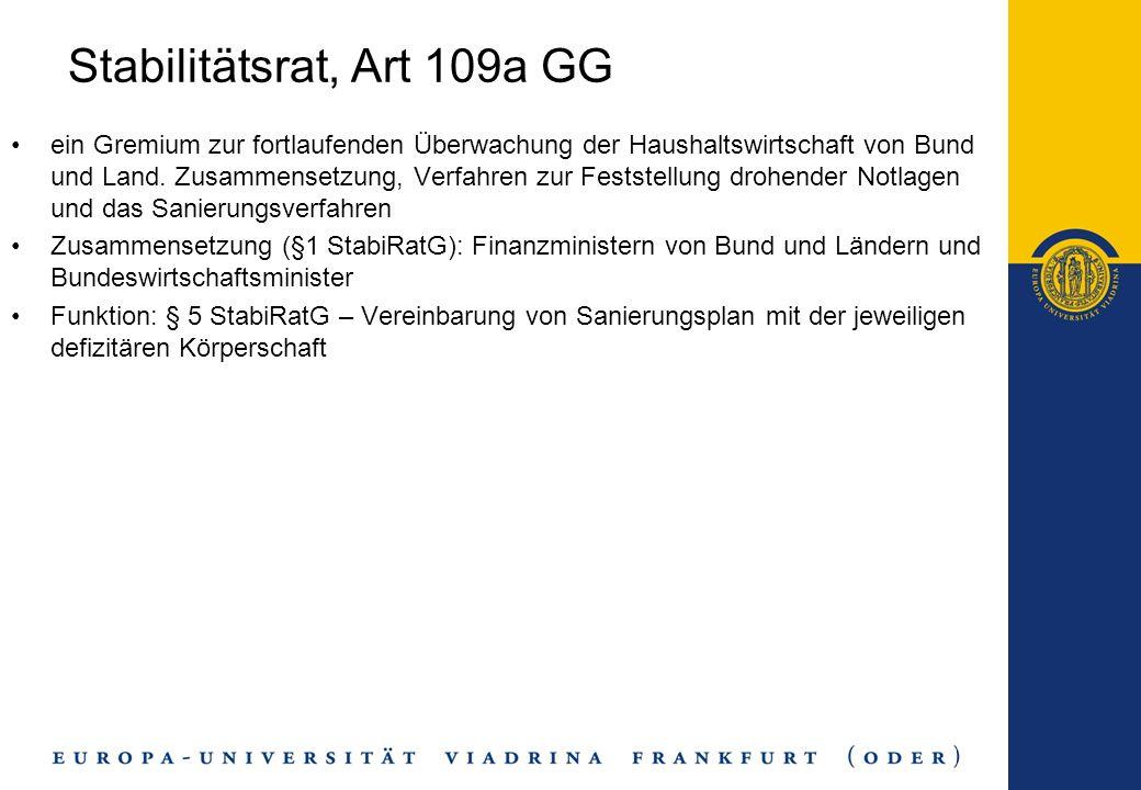 Stabilitätsrat, Art 109a GG