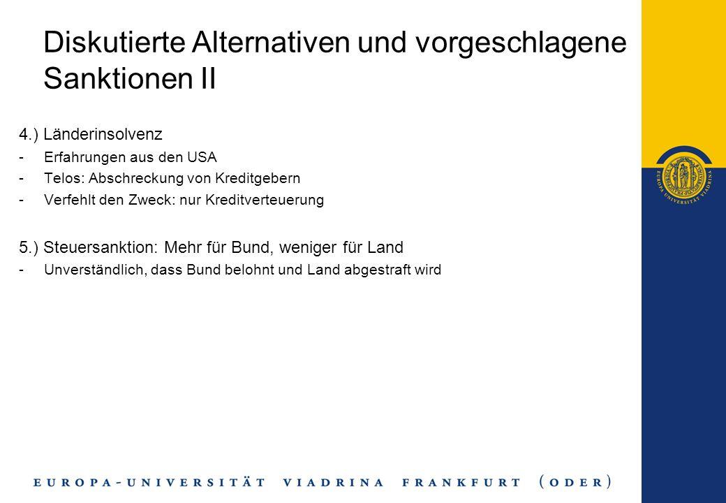 Diskutierte Alternativen und vorgeschlagene Sanktionen II