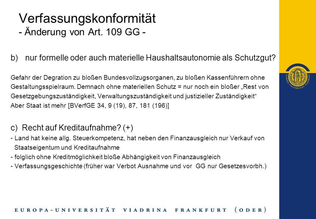 Verfassungskonformität - Änderung von Art. 109 GG -