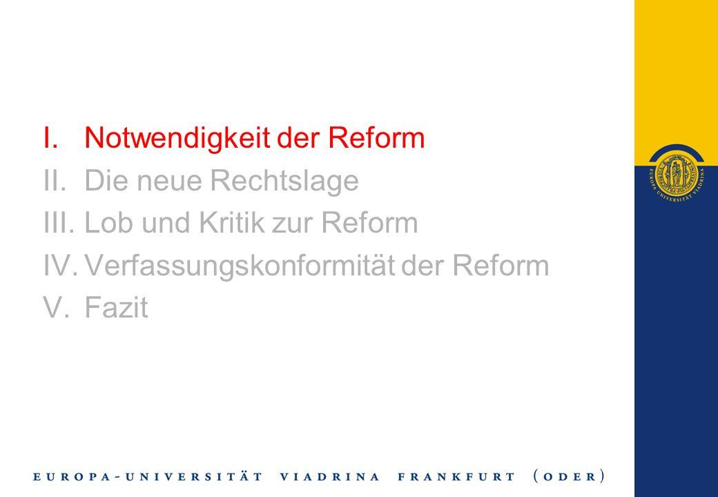 Notwendigkeit der Reform