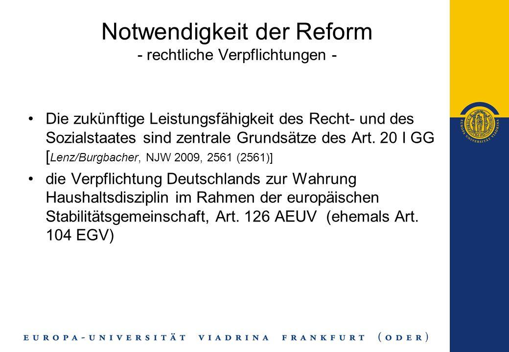 Notwendigkeit der Reform - rechtliche Verpflichtungen -