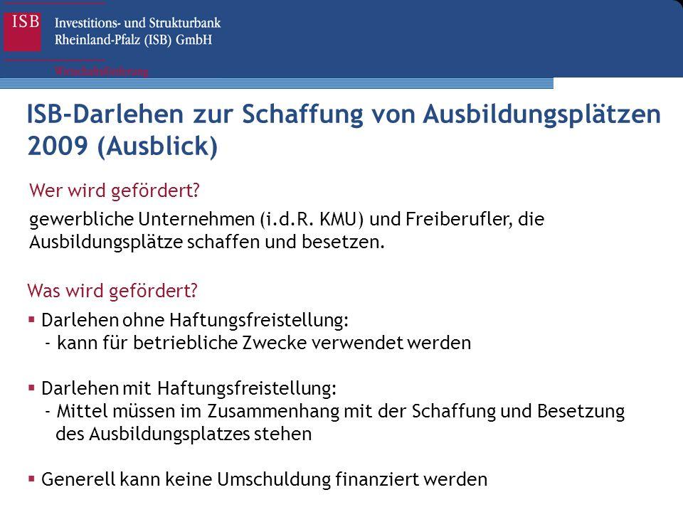 ISB-Darlehen zur Schaffung von Ausbildungsplätzen 2009 (Ausblick)