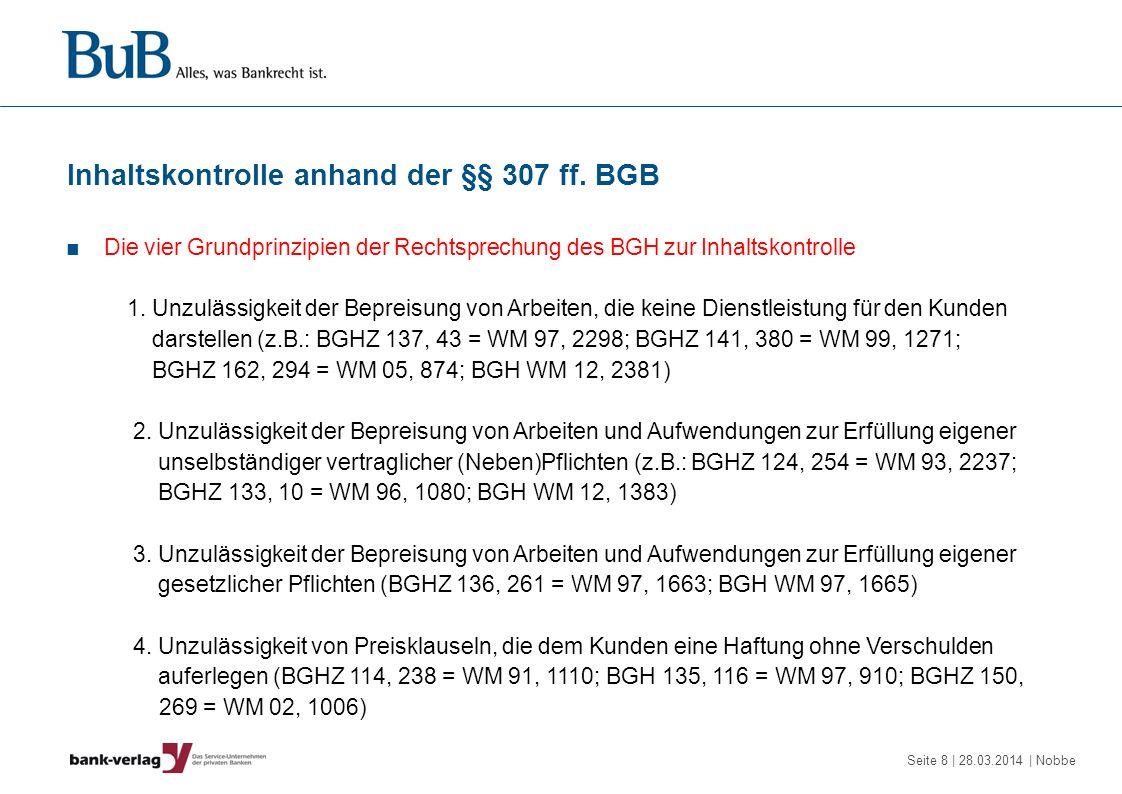 Inhaltskontrolle anhand der §§ 307 ff. BGB