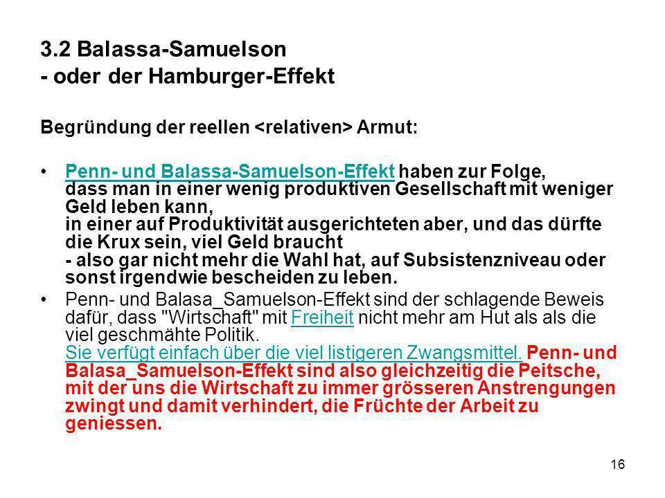 3.2 Balassa-Samuelson - oder der Hamburger-Effekt