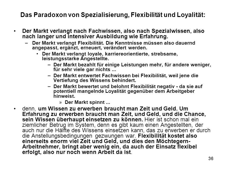 Das Paradoxon von Spezialisierung, Flexibilität und Loyalität: