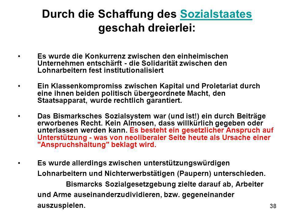 Durch die Schaffung des Sozialstaates geschah dreierlei: