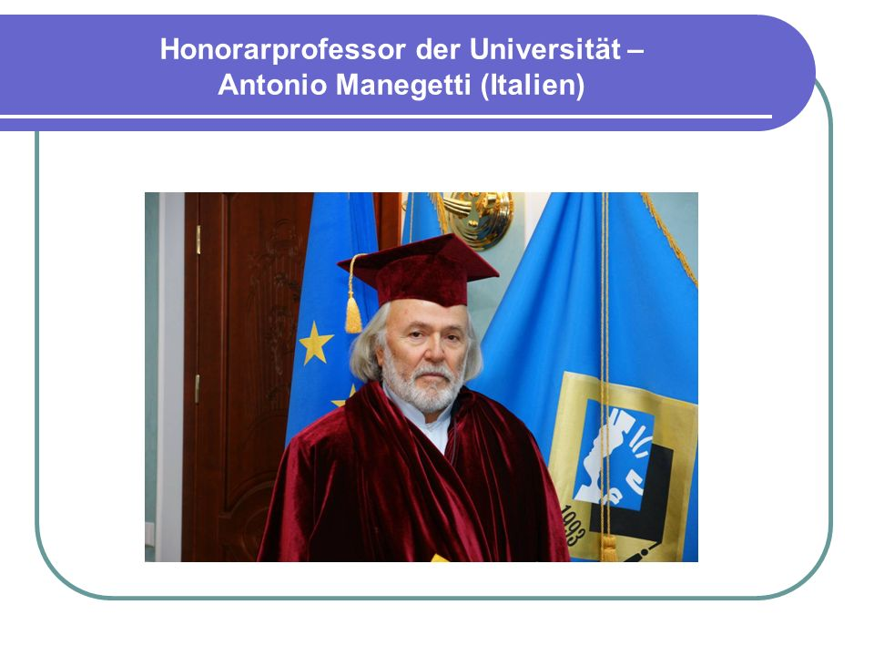 Honorarprofessor der Universität – Antonio Manegetti (Italien)