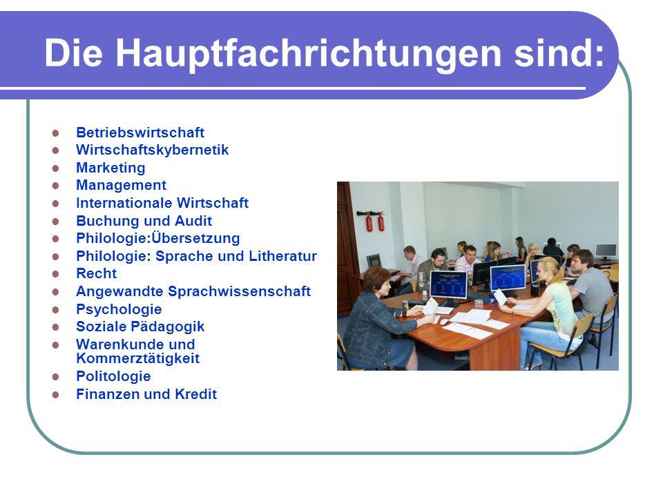 Die Hauptfachrichtungen sind: