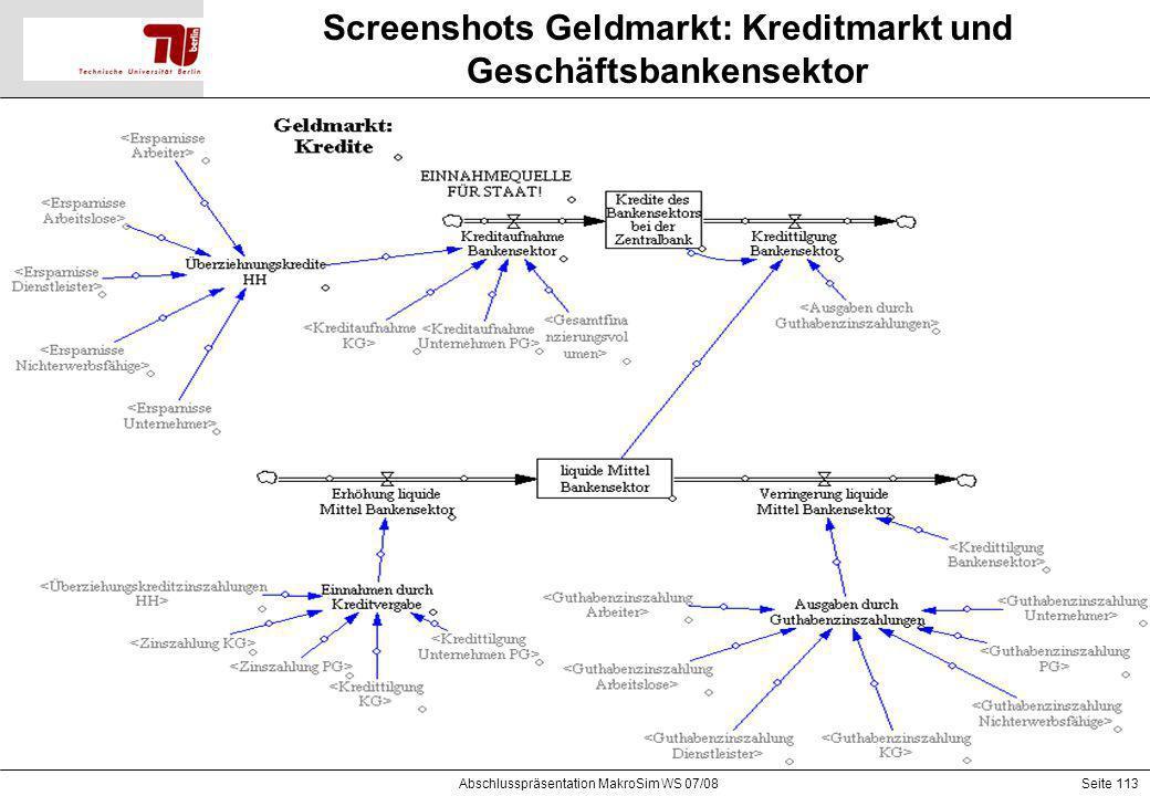 Screenshots Geldmarkt: Kreditmarkt und Geschäftsbankensektor